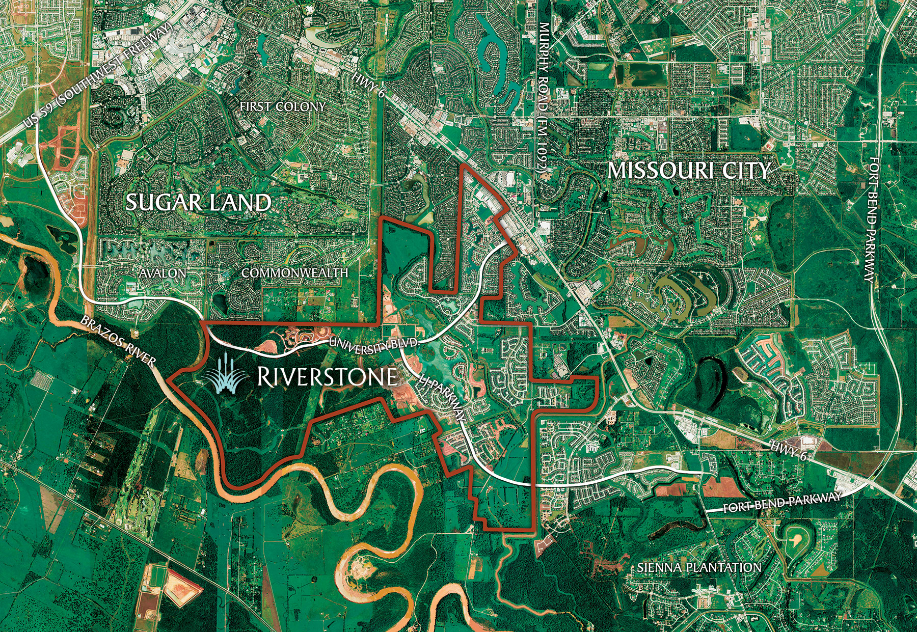 Directions To Our Sugar Land TX Homes For Sale Riverstone - Best aerial maps